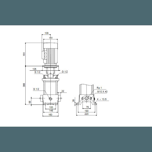 Вертикальный многоступенчатый центробежный насос Grundfos CR 1-10 A-A-A-E-HQQE артикул 96516180 – габаритный чертеж
