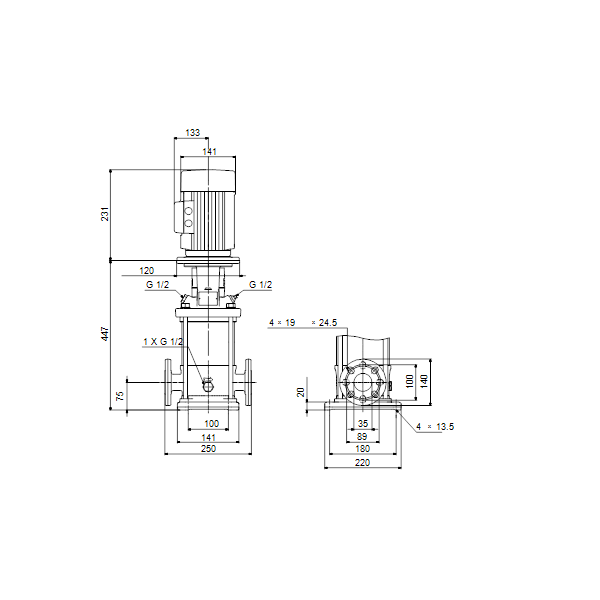 Вертикальный многоступенчатый центробежный насос Grundfos CR 1-12 A-FGJ-A-E-HQQE артикул 96543976 – габаритный чертеж