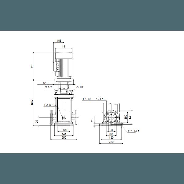 Вертикальный многоступенчатый центробежный насос Grundfos CR 1-23 A-FGJ-A-V-HQQV артикул 96516276 – габаритный чертеж