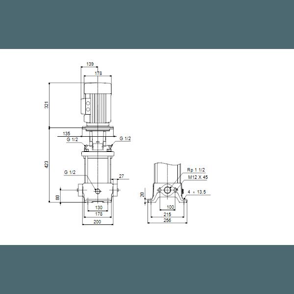 Вертикальный многоступенчатый центробежный насос Grundfos CR 10-4 A-A-A-V-HQQV артикул 96500924 – габаритный чертеж