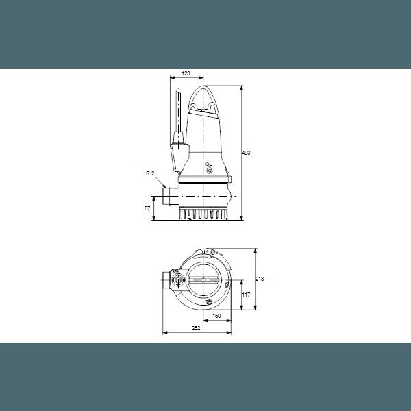 Дренажный погружной канализационный насос Grundfos для канализаций DP10.50.09.2.50B артикул 96104204 – габаритный чертеж