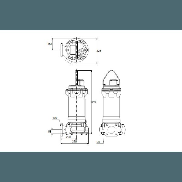 Дренажный погружной канализационный насос Grundfos для канализаций DPK.20.100.110.5.1D артикул 96926034 – габаритный чертеж