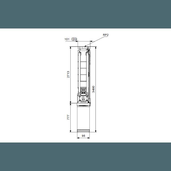 Погружной скважинный насос для грунтовых вод Grundfos SP 11-33N артикул 98699332 – габаритный чертеж