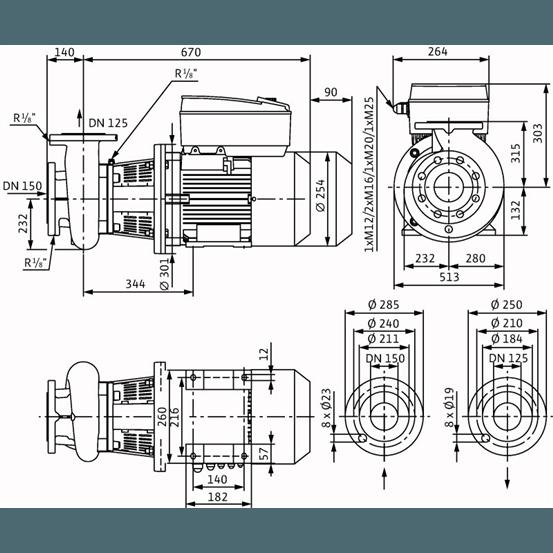 Габаритный чертеж насоса Wilo CronoBloc BL-E 125/185-5,5/4-R1
