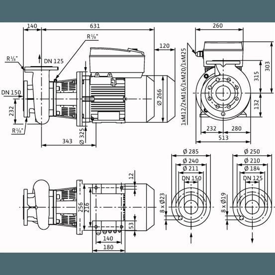 Габаритный чертеж насоса Wilo CronoBloc BL-E 125/210-7,5/4-R1