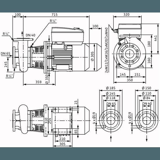 Габаритный чертеж насоса Wilo CronoBloc BL-E 40/210-11/2-R1