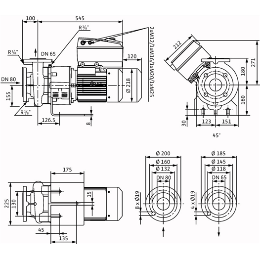 Габаритный чертеж насоса Wilo CronoBloc BL-E 65/120-4/2-R1