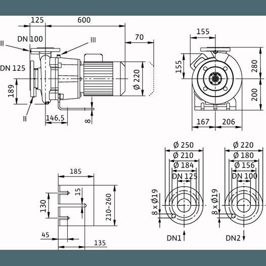 Габаритный чертеж насоса Wilo CronoBloc BL 100/160-3/4