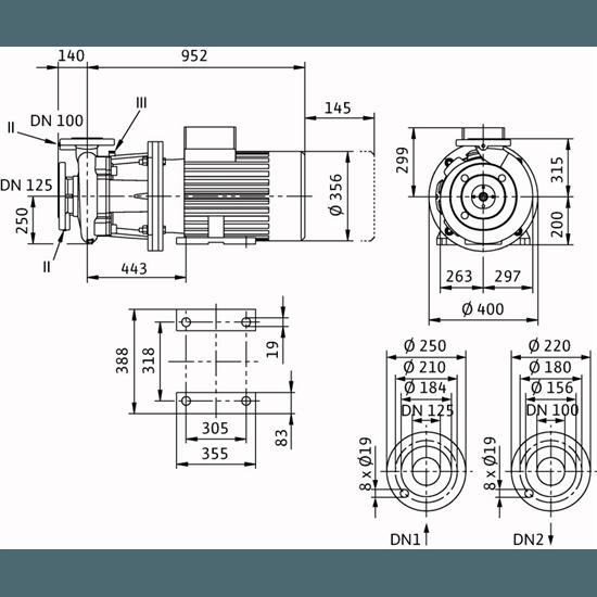 Габаритный чертеж насоса Wilo CronoBloc BL 100/330-30/4
