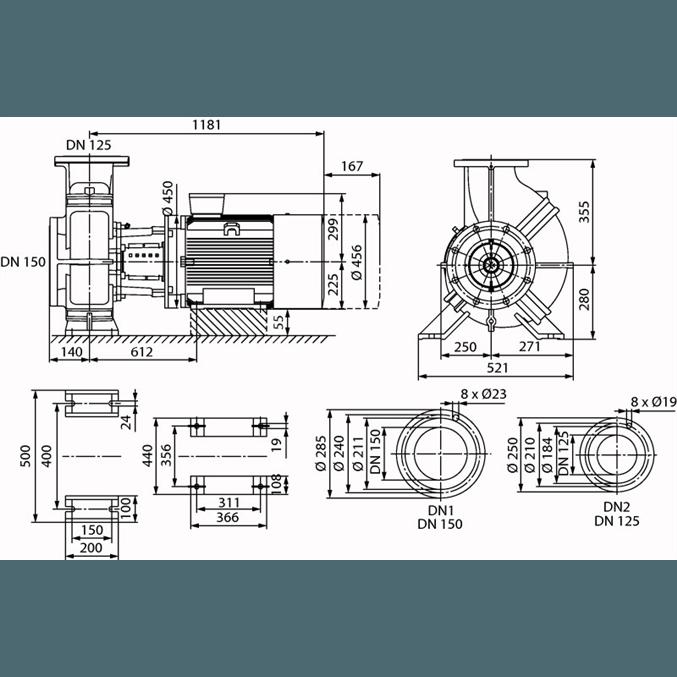 Габаритный чертеж насоса Wilo CronoBloc BL 125/315-45/4