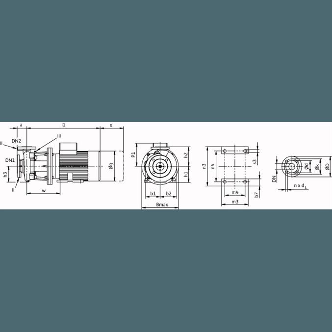 Габаритный чертеж насоса Wilo CronoBloc BL 40/220-15/2