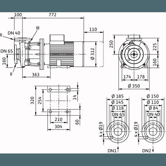Габаритный чертеж насоса Wilo CronoBloc BL 40/230-18,5/2