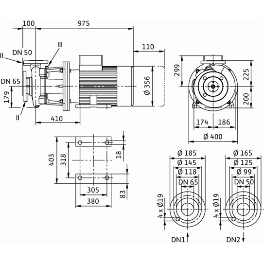 Габаритный чертеж насоса Wilo CronoBloc BL 50/260-37/2