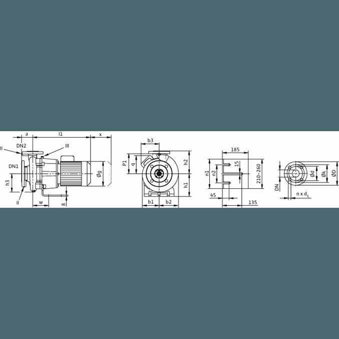 Габаритный чертеж насоса Wilo CronoBloc BL 65/120-4/2