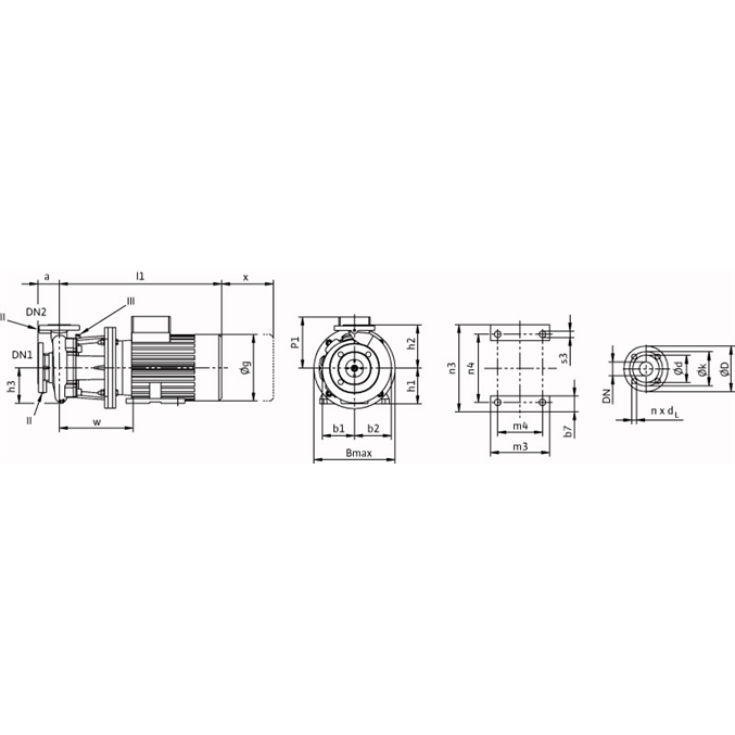 Габаритный чертеж насоса Wilo CronoBloc BL 80/210-37/2