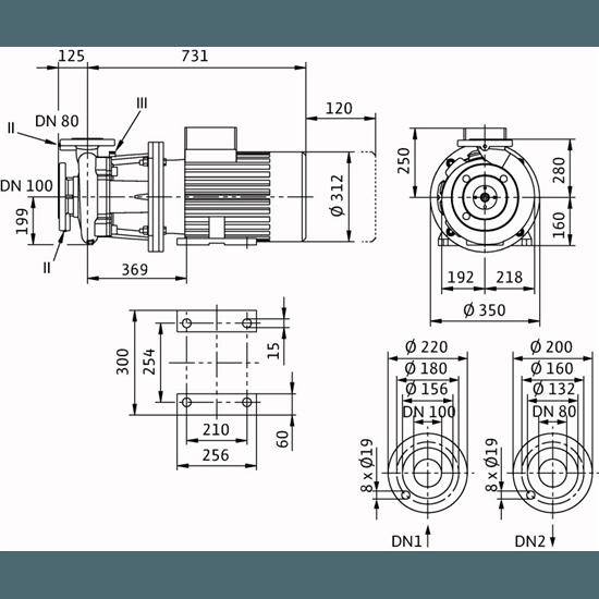 Габаритный чертеж насоса Wilo CronoBloc BL 80/270-11/4