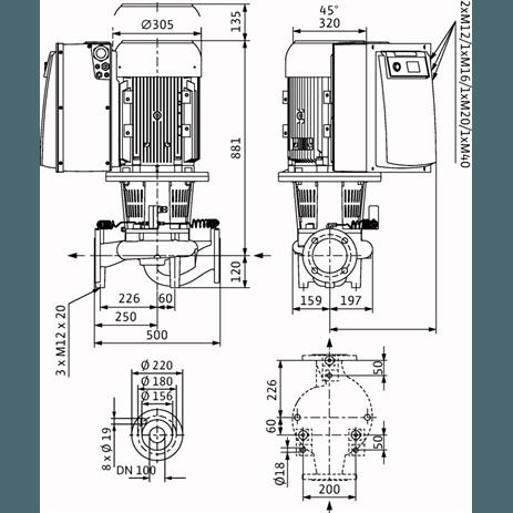 Габаритный чертеж насоса Wilo CronoLine IL-E 100/150-15/2