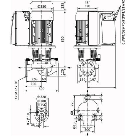 Габаритный чертеж насоса Wilo CronoLine IL-E 100/165-22/2