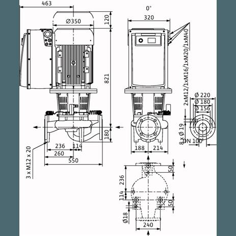 Габаритный чертеж насоса Wilo CronoLine IL-E 100/270-11/4