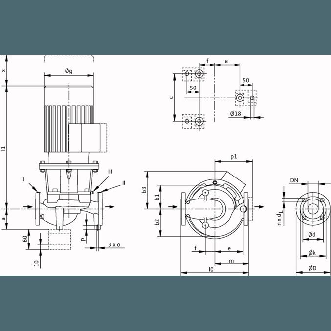 Габаритный чертеж насоса Wilo CronoLine IL 100/200-3/4