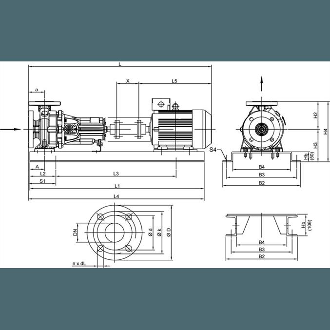 Габаритный чертеж насоса Wilo CronoNorm NL 100/200-37-2-12