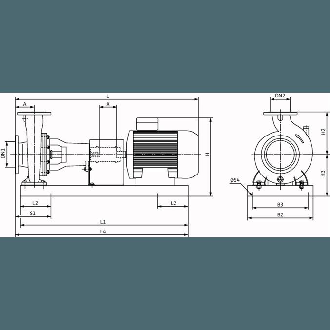Габаритный чертеж насоса Wilo CronoNorm NL 100/250-9-4-12