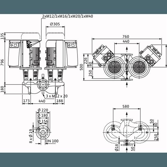 Габаритный чертеж насоса Wilo CronoTwin DL-E 100/145-11/2