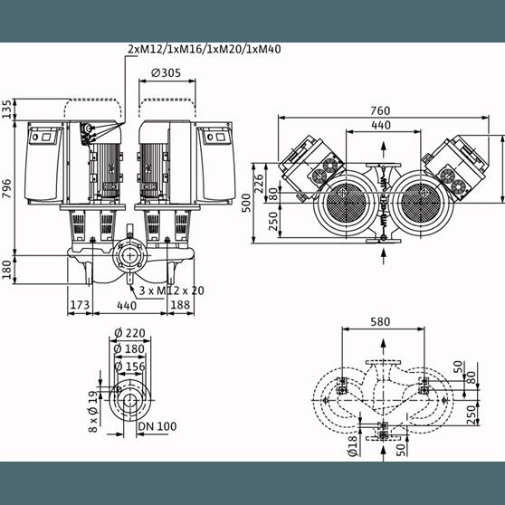 Габаритный чертеж насоса Wilo CronoTwin DL-E 100/150-15/2