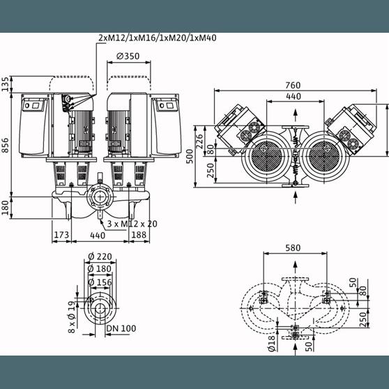 Габаритный чертеж насоса Wilo CronoTwin DL-E 100/160-18,5/2