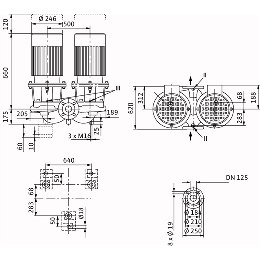 Габаритный чертеж насоса Wilo CronoTwin DL 125/190-4/4