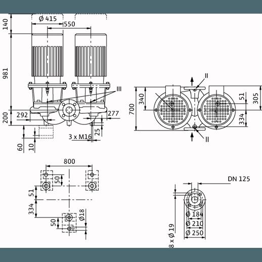 Габаритный чертеж насоса Wilo CronoTwin DL 125/340-30/4