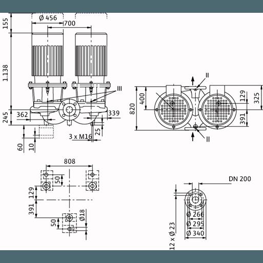 Габаритный чертеж насоса Wilo CronoTwin DL 200/335-45/4