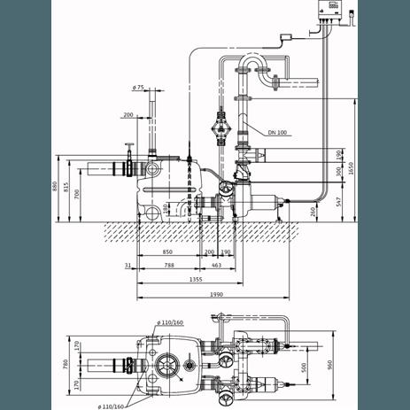 Габаритный чертеж насоса Wilo DRAINLIFT XXL 1040-2/3,9