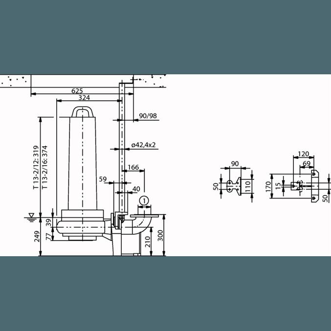 Габаритный чертеж насоса Wilo EMU FA 08.34E-120+T13-2/12H
