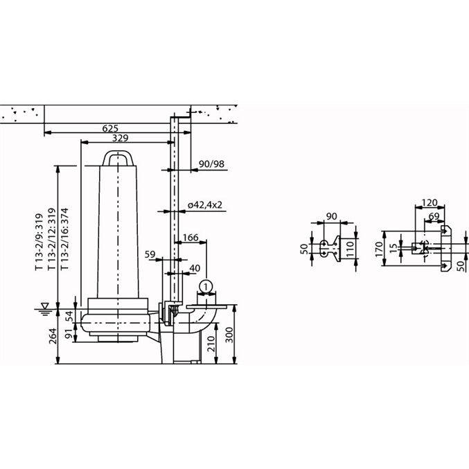 Габаритный чертеж насоса Wilo EMU FA 08.43E-115+T13-2/12H