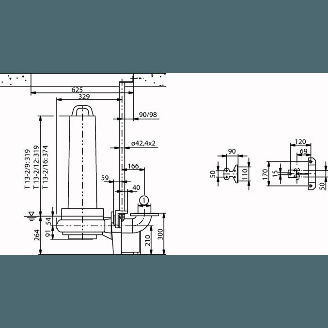 Габаритный чертеж насоса Wilo EMU FA 08.43E-125+T13-2/12H-DK