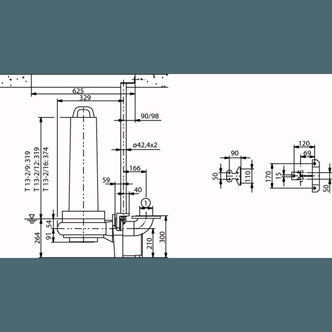 Габаритный чертеж насоса Wilo EMU FA 08.43E-130+T13-2/12H-DK