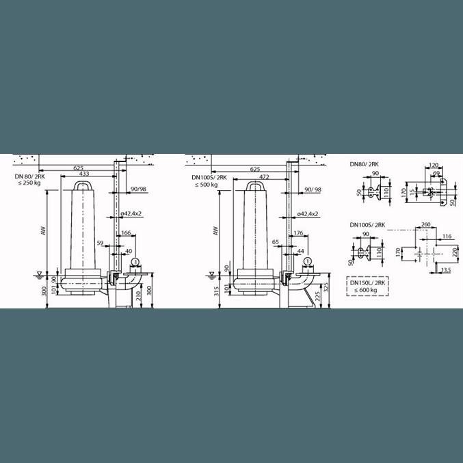 Габаритный чертеж насоса Wilo EMU FA 08.73W-160+T20.1-2/22G-DK