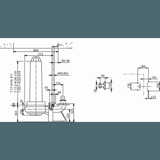 Габаритный чертеж насоса Wilo EMU FA 10.34E-278+T20.1-4/22G-DK