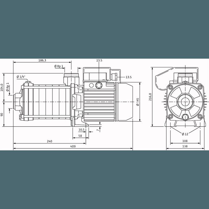 Габаритный чертеж насоса Wilo Economy MHIL 305-E-1-230-50-2