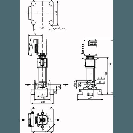 Габаритный чертеж насоса Wilo HELIX EXCEL 1005-1/25/E/KS