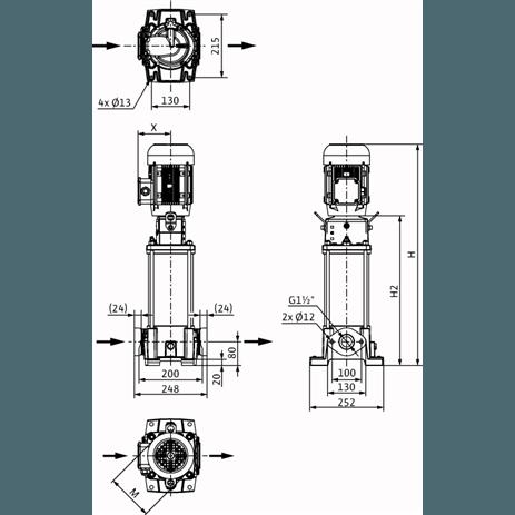 Габаритный чертеж насоса Wilo HELIX FIRST V 1002-5/16/E/S/400-50