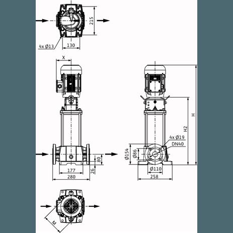 Габаритный чертеж насоса Wilo HELIX FIRST V 1002-5/25/E/S/400-50