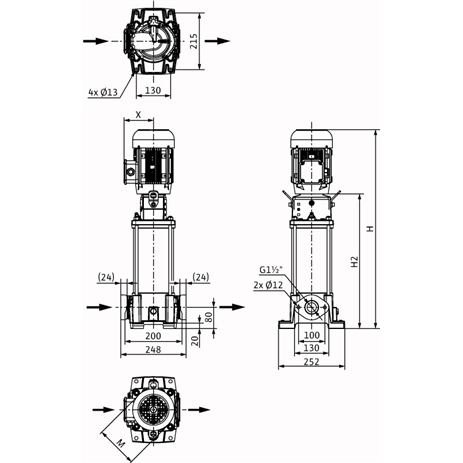 Габаритный чертеж насоса Wilo HELIX FIRST V 1005-5/16/E/S/400-50
