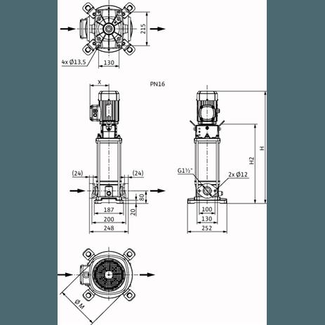 Габаритный чертеж насоса Wilo HELIX V 1001-1/16/E/KS/400-50