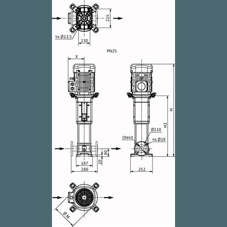 Габаритный чертеж насоса Wilo HELIX V 1001-2/25/V/KS/400-50