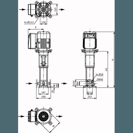 Габаритный чертеж насоса Wilo HELIX VE 1005-2/25/V/KS