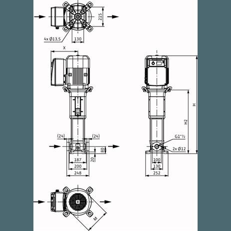 Габаритный чертеж насоса Wilo HELIX VE 1006-1/16/E/KS