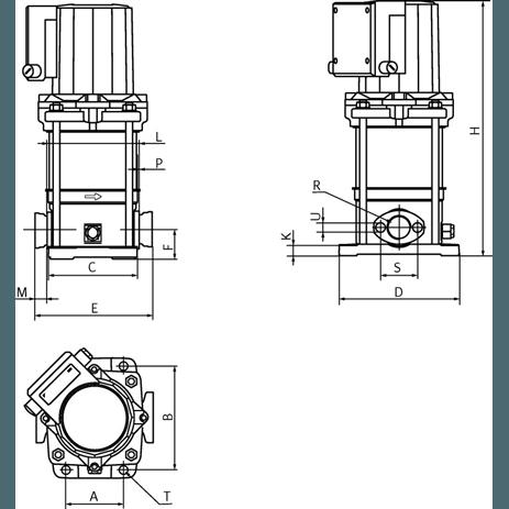 Габаритный чертеж насоса Wilo Multivert MVIS 202-1/16/K/3-400-50-2