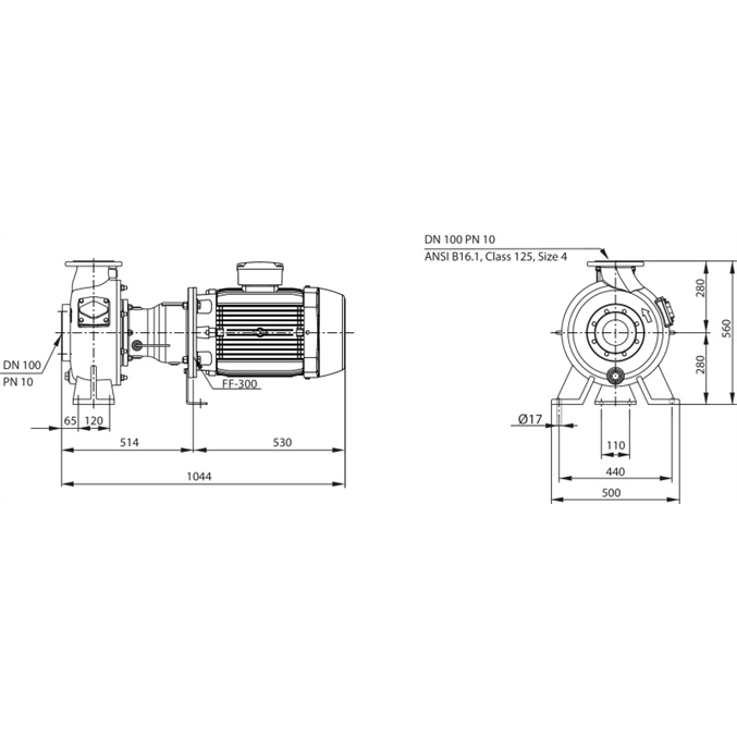 Габаритный чертеж насоса Wilo REXA BLOC RE10.44W-245DAH160L4